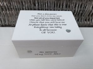 Personalised In Memory Of A Loved One ~ Box ~ WIFE ~ any Name Bereavement Loss - 232737679222